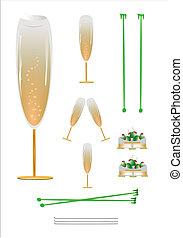 coasters, anteojos, champaña