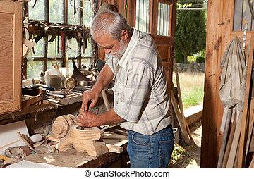 cobertizo, hábil, viejo, carpintero