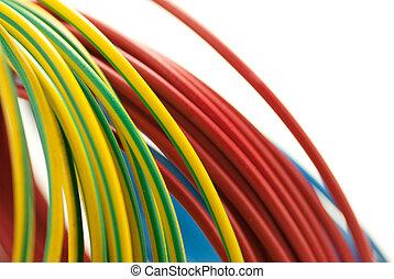 cobre, azul, 3, encima, aislado, amarillo, colores, fondo verde, blanco, cables, rojo