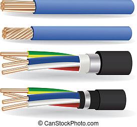 cobre, cables, eléctrico