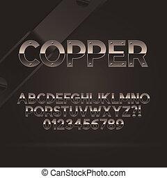 cobre, fuente, números