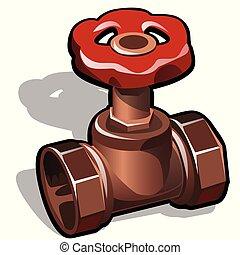 Cobre industrial o válvula de agua de bronce aislada en un fondo blanco. El elemento de las comunicaciones de agua. Ilustración de primer plano del vector.