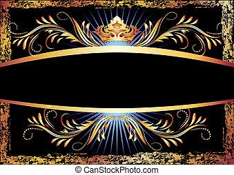 cobre, ornamento, corona, lujoso