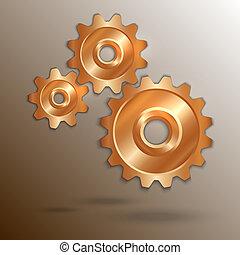 cobre, vector, ruedas dentadas, ilustración, metálico