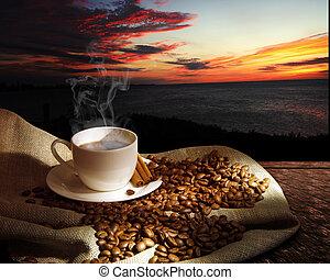 cocer al vapor el café, taza