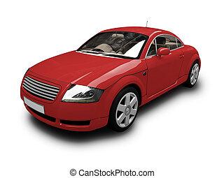 coche, aislado, vista, rojo, frente