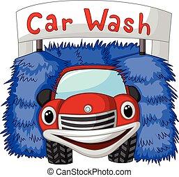 coche, automático, caricatura, lavado