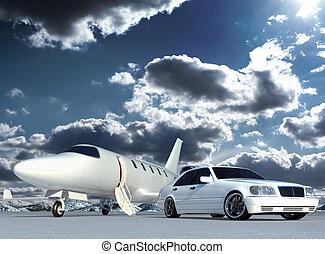 coche, avión