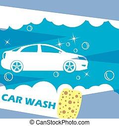 coche, azul, lavado, oscuridad, agujas, blanco