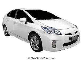 coche, blanco, híbrido
