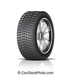 coche, blanco, vector, aislado, neumático