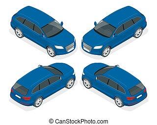 coche., calidad, transporte, icon., alto, ciudad, ventana trasera