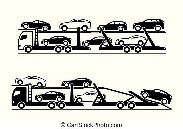 coche, camiones, transportador