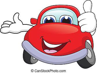 coche, caricatura, carácter, pulgar up