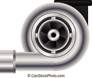 coche, caricatura, turbo, estilo, icono
