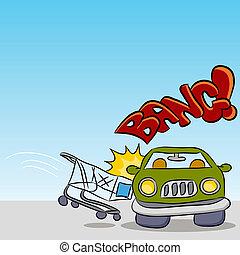 coche, carro de compras, perjudicial