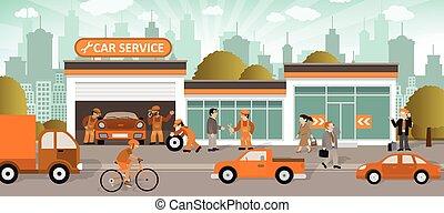 coche, colors), servicio, (retro