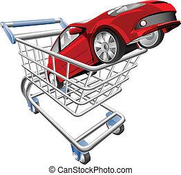 coche, concepto, carro de compras