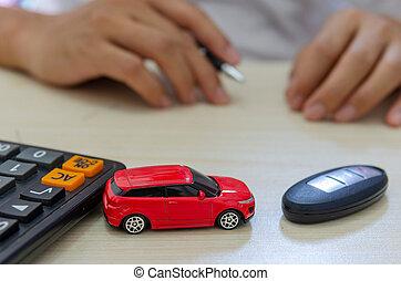 coche, concepto, seguro
