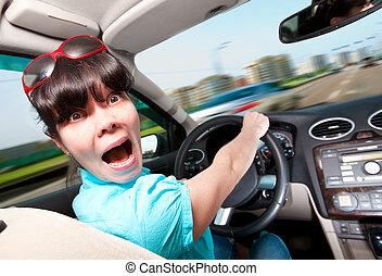 coche, conducción, mujeres