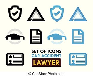 coche, conjunto, accidente, abogado, iconos
