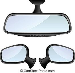 coche, conjunto, espejo