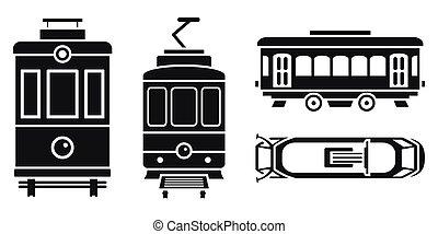 coche, conjunto, simple, estilo, tranvía, icono
