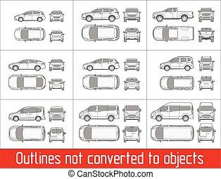 coche, contornos, furgoneta, vista, no, todos, objetos, dibujo, convertido, sedán, suv