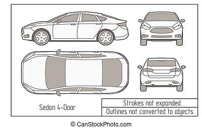 coche, contornos, objetos, no, dibujo, convertido, sedán, suv