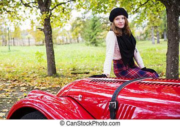 coche, cowling, mujer, falda, rojo