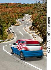 coche, croacia, camino, bandera, nacional, colores