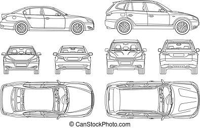 coche, cuatro, empate, seguro, daño, vista, espalda, todos, lado, cima, forma, línea, cianotipo, informe, condición, alquiler, sedán, suv