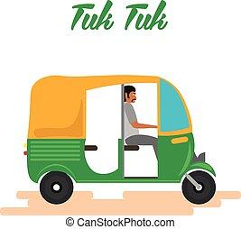 Coche de rickshaw indio. Tuk tuk indio. Ilustración de vectores.