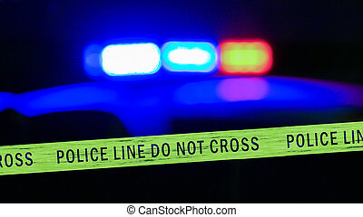 coche, defocused, cinta de la policía, límite, sirena