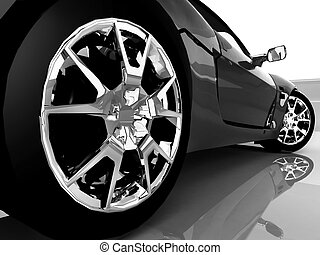 coche, deporte, negro, encima de cierre