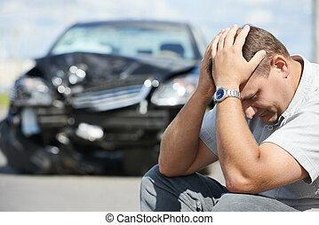 coche, después, choque, trastorno, hombre