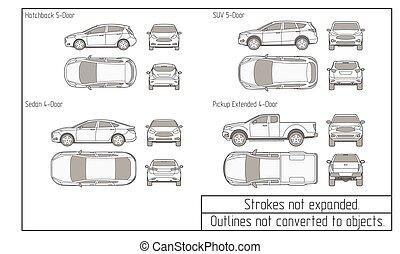 coche, dibujo, suv, objetos, sedán, no, convertido, contornos
