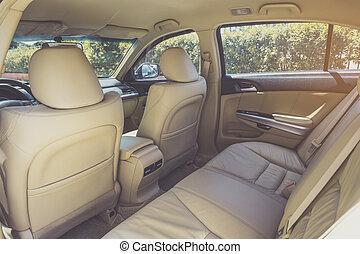 coche, espalda, lujo, pasajero, moderno, asientos