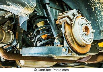 coche, frenos, suspensión