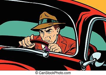 coche, hombre, retro, conducción, serio