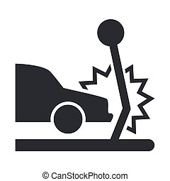 coche, ilustración, aislado, solo, icono, vector, choque