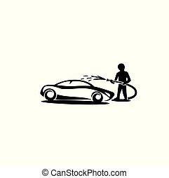 coche, ilustración, lavado, vector, logotipo, mínimo