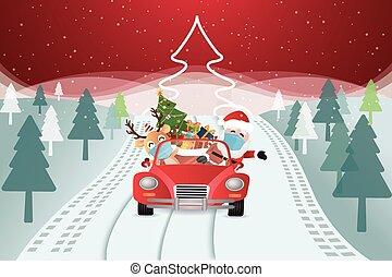 coche, llegar, santa claus, regalos de navidad