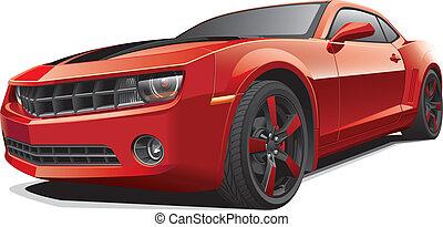 coche, músculo, rojo