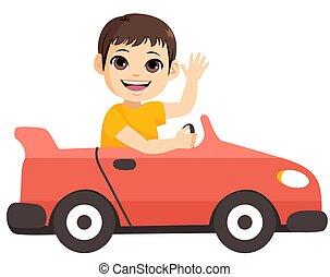 coche, niño pequeño, juguete