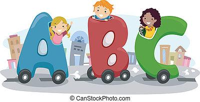 coche, niños, abc, equitación