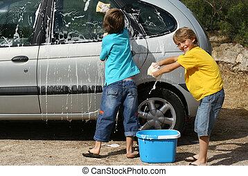 coche, niños, lavado, tareas