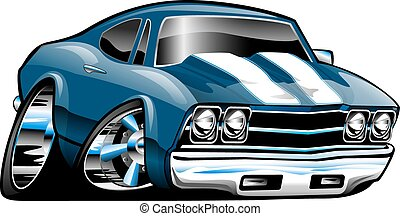 coche, norteamericano, músculo, caricatura, clásico