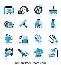 coche, objetos, lavado, iconos