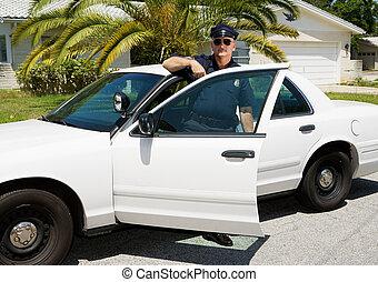 coche, -, oficial, y, policía
